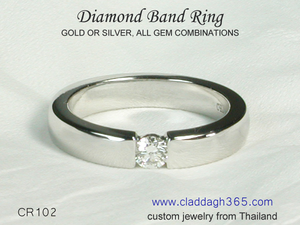 diamond band ring gold or 925 silver