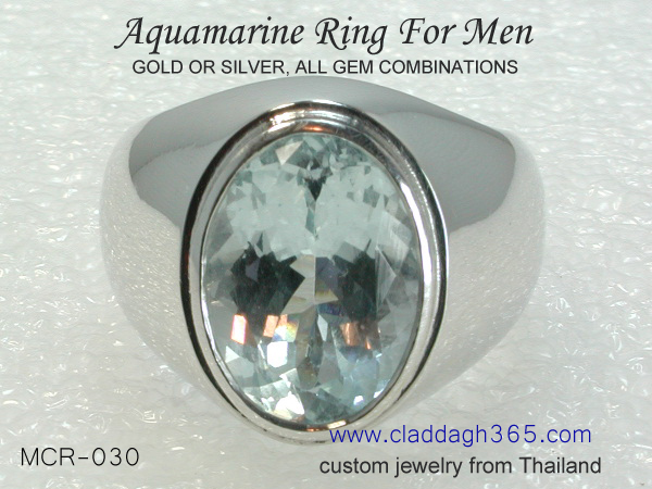 men's big ring with aquamarine