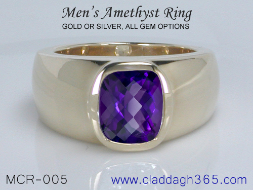 Mens Ring With Amethyst