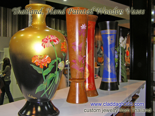 thai pottery wooden handpainted vases