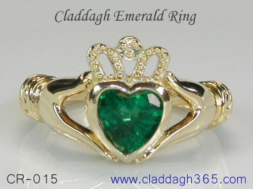 Claddagh Ring With Emerald The Historic Ring In Gold 925 Silver